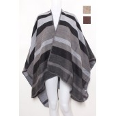 U Shape Poncho with Stripe