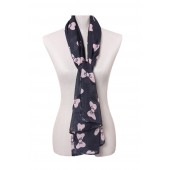 Black Piping Silky Long Scarf 14